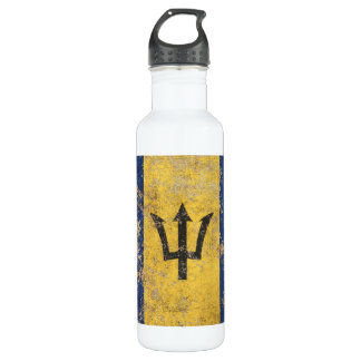 Rough Aged Vintage Barbados Flag Stainless Steel Water Bottle