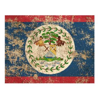 Rough Aged Vintage Belize Flag Postcard