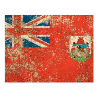 Rough Aged Vintage Bermuda Flag Postcard