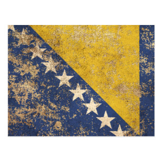 Rough Aged Vintage Bosnia Herzegovina Flag Postcard