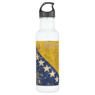 Rough Aged Vintage Bosnia Herzegovina Flag Water Bottle