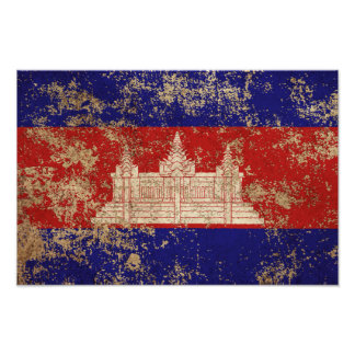 Rough Aged Vintage Cambodian Flag Poster