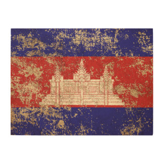 Rough Aged Vintage Cambodian Flag Wood Canvas
