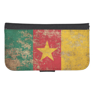 Rough Aged Vintage Cameroon Flag Phone Wallet Case
