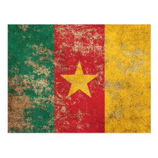 Rough Aged Vintage Cameroon Flag Postcard