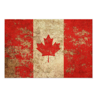 Rough Aged Vintage Canadian Flag Poster