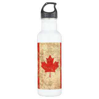 Rough Aged Vintage Canadian Flag Water Bottle