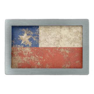 Rough Aged Vintage Chilean Flag Rectangular Belt Buckle