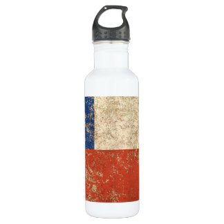 Rough Aged Vintage Chilean Flag Stainless Steel Water Bottle