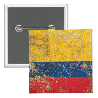 Rough Aged Vintage Colombian Flag 2 Inch Square Button