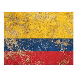 Rough Aged Vintage Colombian Flag Postcard