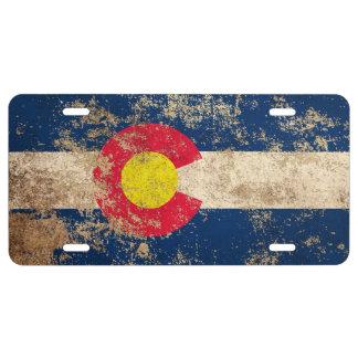 Rough Aged Vintage Colorado Flag License Plate