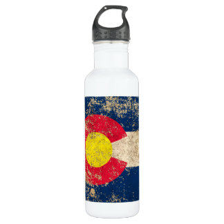 Rough Aged Vintage Colorado Flag Stainless Steel Water Bottle