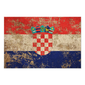 Rough Aged Vintage Croatian Flag Poster