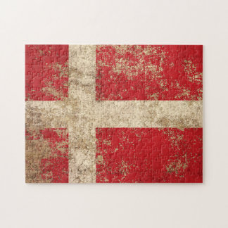 Rough Aged Vintage Danish Flag Puzzles
