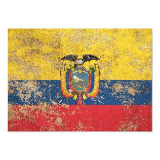 Rough Aged Vintage Ecuadorian Flag 5x7 Paper Invitation Card