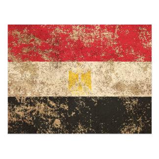 Rough Aged Vintage Egyptian Flag Postcard