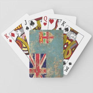 Rough Aged Vintage Fiji Flag Poker Deck