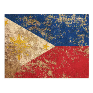 Rough Aged Vintage Filipino Flag Postcard