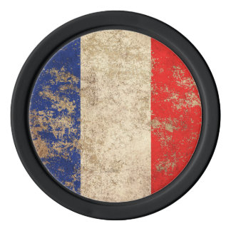 Rough Aged Vintage French Flag Set Of Poker Chips
