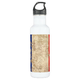 Rough Aged Vintage French Flag Water Bottle