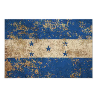 Rough Aged Vintage Honduras Flag Print