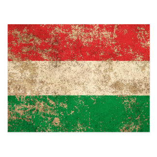 Rough Aged Vintage Hungarian Flag Postcard