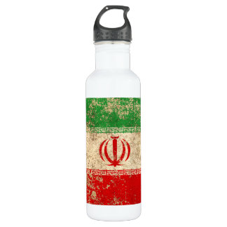 Rough Aged Vintage Iranian Flag Stainless Steel Water Bottle