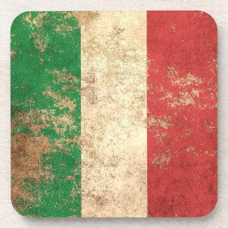Rough Aged Vintage Italian Flag Beverage Coaster