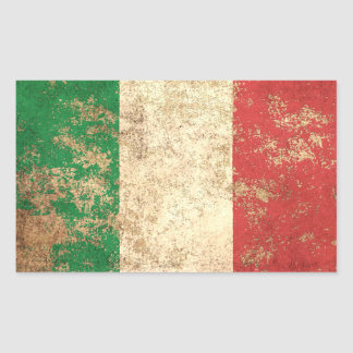 Rough Aged Vintage Italian Flag Rectangular Sticker