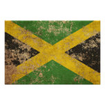 Rough Aged Vintage Jamaican Flag Poster