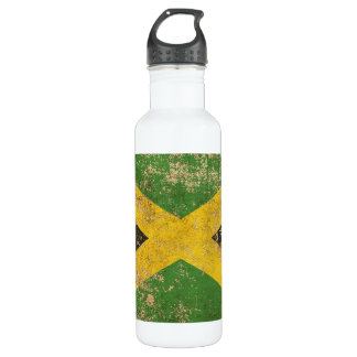Rough Aged Vintage Jamaican Flag Water Bottle