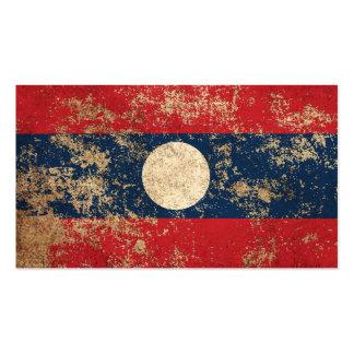 Rough Aged Vintage Laos Flag Business Cards