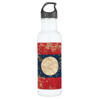 Rough Aged Vintage Laos Flag Water Bottle