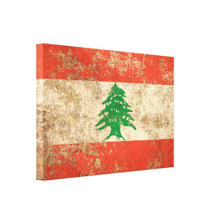 Rough Aged Vintage Lebanese Flag Canvas Prints