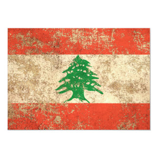 Rough Aged Vintage Lebanese Flag Card
