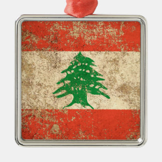 Rough Aged Vintage Lebanese Flag Metal Ornament