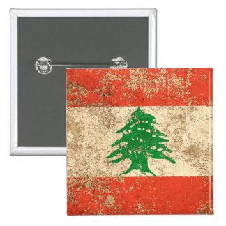 Rough Aged Vintage Lebanese Flag Pinback Button