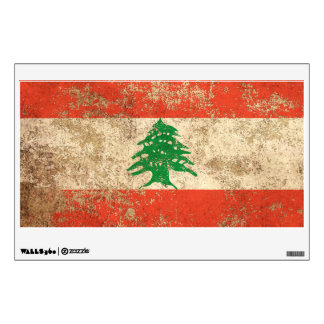 Rough Aged Vintage Lebanese Flag Wall Stickers