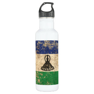Rough Aged Vintage Lesotho Flag Stainless Steel Water Bottle