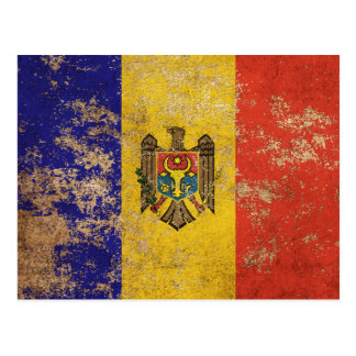 Rough Aged Vintage Moldovan Flag Postcard