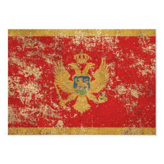 Rough Aged Vintage Montenegro Flag Card