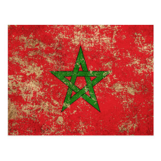 Rough Aged Vintage Moroccan Flag Postcard