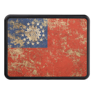 Rough Aged Vintage Myanmar Flag Trailer Hitch Cover