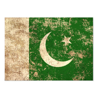Rough Aged Vintage Pakistani Flag 5x7 Paper Invitation Card