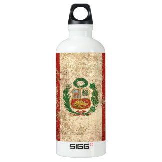 Rough Aged Vintage Peruvian Flag Water Bottle