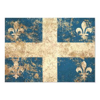 Rough Aged Vintage Quebec Flag 5x7 Paper Invitation Card