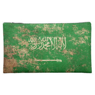 Rough Aged Vintage Saudi Arabian Flag Makeup Bag