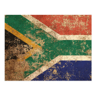 Rough Aged Vintage South African Flag Postcard