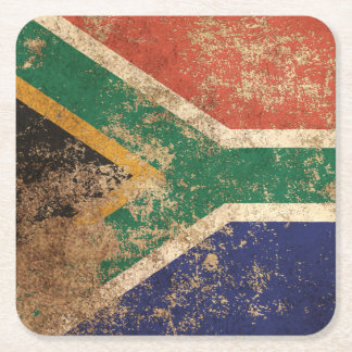 Rough Aged Vintage South African Flag Square Paper Coaster